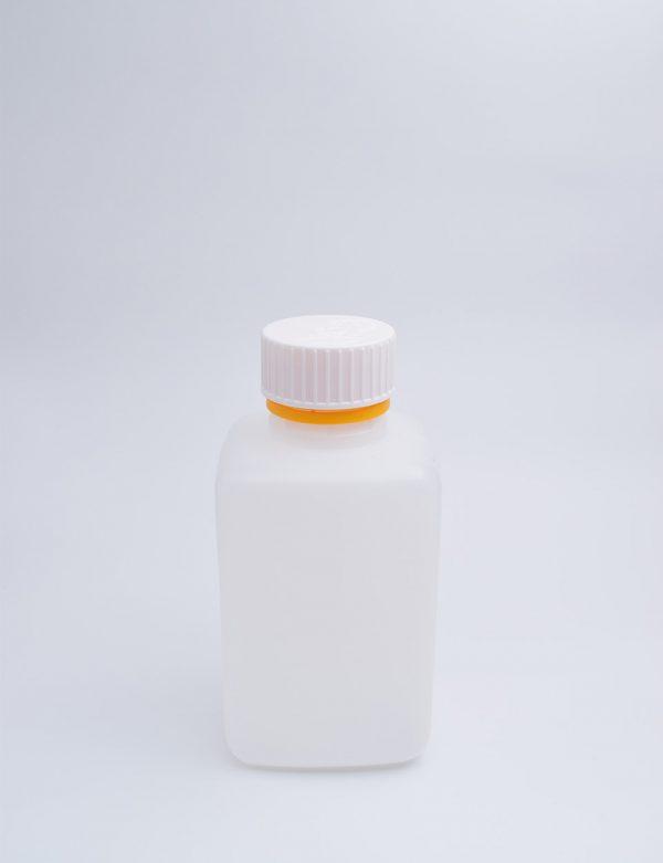 Φιάλη 500 γρ. Βιδωτό Πλακέ Διπλό Πώμα Διάφανο